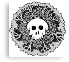 Grey Scale Skull Mandala Canvas Print