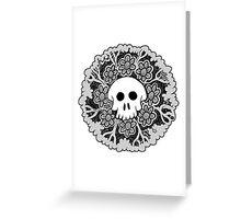 Grey Scale Skull Mandala Greeting Card