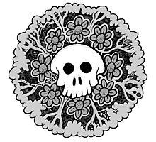 Grey Scale Skull Mandala Photographic Print