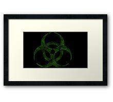 Biohazard symbol 4 green Framed Print