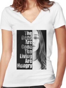 The Dead Are Gone, The Living Are Hungry Women's Fitted V-Neck T-Shirt