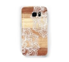 White Doodles on Blonde Wood Samsung Galaxy Case/Skin