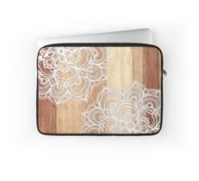 White Doodles on Blonde Wood Laptop Sleeve