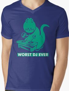 T-Rex is Worst DJ Ever Mens V-Neck T-Shirt