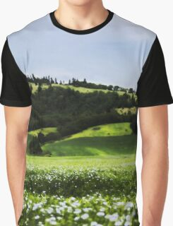 Grass Field And Flowers 3 Graphic T-Shirt