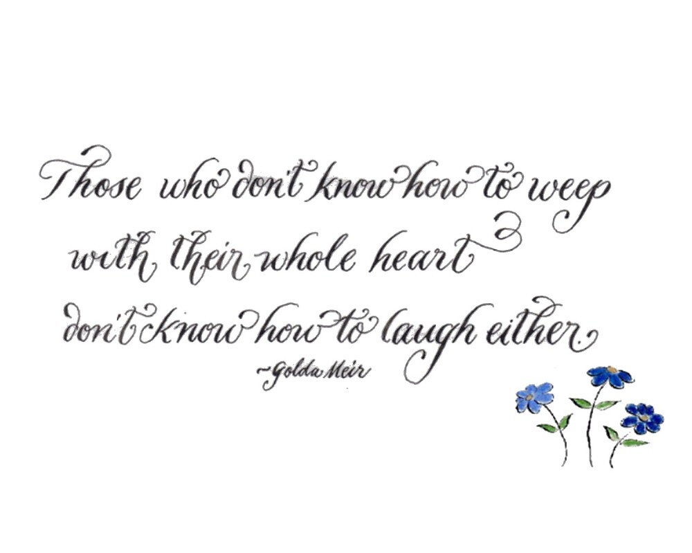 Inspirational quote with blue daisies by Melissa Goza