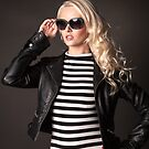Blonde in leather jacket by Peter Stone
