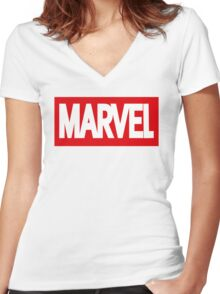 Marvel Logo Women's Fitted V-Neck T-Shirt