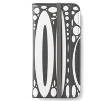 Retro black white ovals border pattern iPhone Wallet/Case/Skin