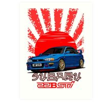 Subaru Impreza 22B WRX STI - R.I.P. EVO (Blue) Art Print