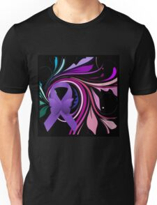 Purple Awareness Ribbon with Decoravtive Floral  Unisex T-Shirt