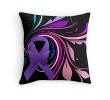 Purple Awareness Ribbon with Decoravtive Floral  Throw Pillow