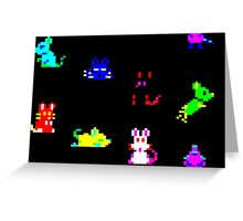 Teletext Mice on Black Greeting Card