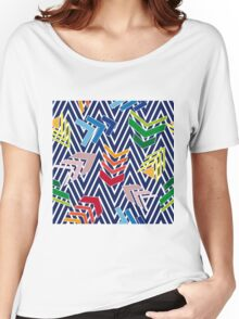 Multicolored chevron pattern with colorful arrows. Women's Relaxed Fit T-Shirt
