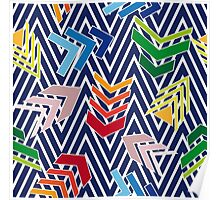 Multicolored chevron pattern with colorful arrows. Poster