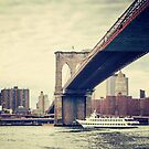 Brooklyn Bridge and Boat by Jonicool