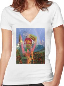 Fusion with the landscape Women's Fitted V-Neck T-Shirt