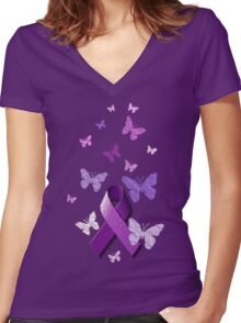Purple Awareness Ribbon with Butterflies  Women's Fitted V-Neck T-Shirt