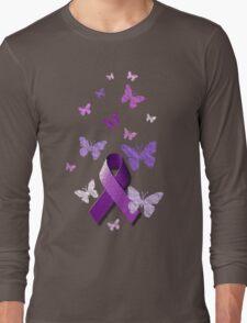Purple Awareness Ribbon with Butterflies  Long Sleeve T-Shirt
