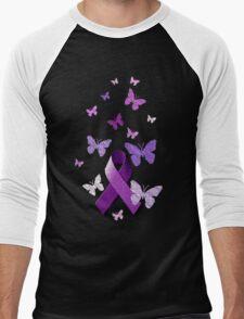 Purple Awareness Ribbon with Butterflies  Men's Baseball ¾ T-Shirt
