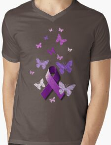 Purple Awareness Ribbon with Butterflies  Mens V-Neck T-Shirt