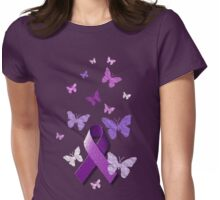 Purple Awareness Ribbon with Butterflies  Womens Fitted T-Shirt