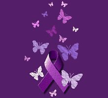 Purple Awareness Ribbon with Butterflies  Women's Fitted Scoop T-Shirt