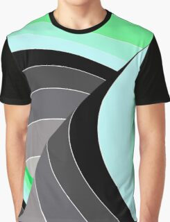 Curves in Gray and Green Graphic T-Shirt