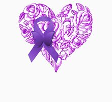 Purple Awareness Ribbon Rose Heart Women's Fitted Scoop T-Shirt
