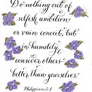 Consider others Better purple pastel calligraphy art  by Melissa Goza