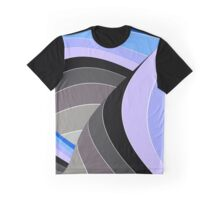 Curves in Gray and Blue Graphic T-Shirt