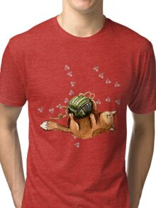 Lovely Cat Playing A Ball Of Wool Tri-blend T-Shirt