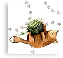 Lovely Cat Playing A Ball Of Wool Canvas Print