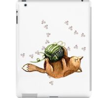 Lovely Cat Playing A Ball Of Wool iPad Case/Skin