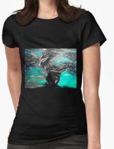 twisted tree on green Womens Fitted T-Shirt
