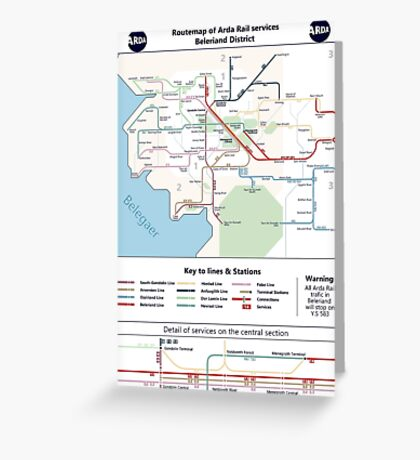 Beleriand Routemap Greeting Card