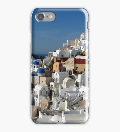 Houses and Blue Domed Churches of Santorini Greece iPhone Case/Skin