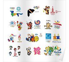 olimpic games mascots juegos olímpicos mascotas sports Poster