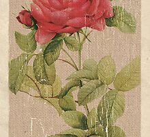 Vintage Burlap Floral 1 by Debbie DeWitt