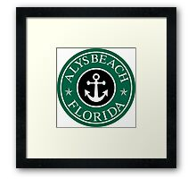 ALYS BEACH, FLORIDA ANCHOR VACATION COFFEE STYLE STICKER Framed Print