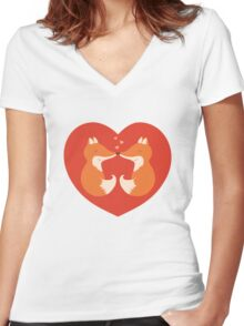 Lovers foxes. Women's Fitted V-Neck T-Shirt