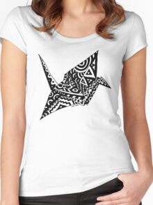 Paper Crane Origami Doodle Women's Fitted Scoop T-Shirt