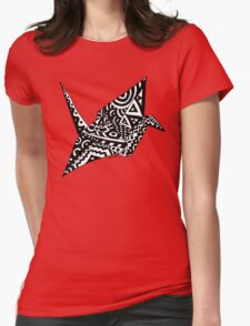 Paper Crane Origami Doodle Womens Fitted T-Shirt
