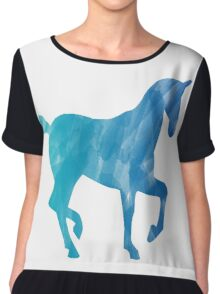 Blue Watercolor Horse Chiffon Top