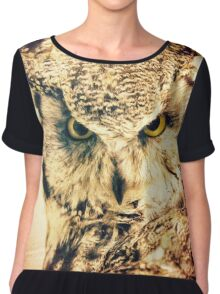 Great Horned Owl Vintage Portrait Chiffon Top