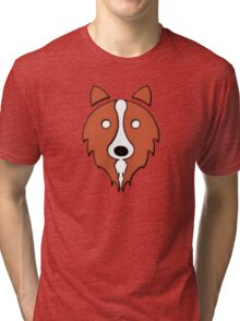 Solid Red Border Collie Tri-blend T-Shirt