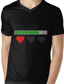 Last Life Retro Hearts Mens V-Neck T-Shirt
