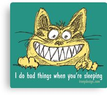 Cat Does Bad Things When You Sleep Canvas Print