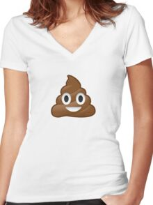 Poop Emoji Women's Fitted V-Neck T-Shirt