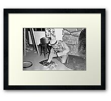 1940s Found Photo Halloween Card - Sock Monkey Man Framed Print